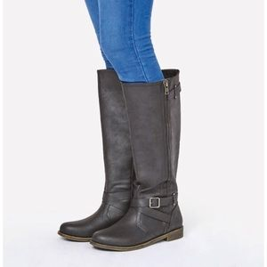 JustFab Rufina Black Wide Calf Riding Boot